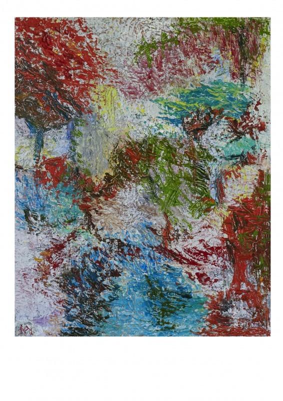 Värikäs abstrakti, tekstuurillinen maalaus.