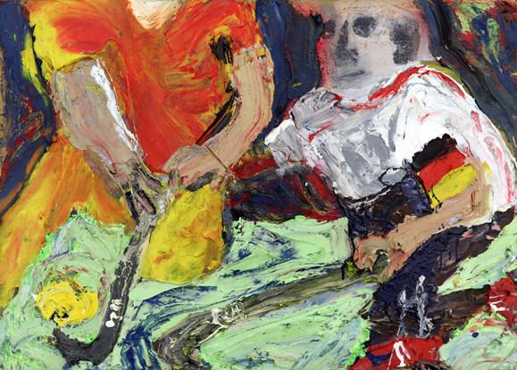 Ekspressionistinen maalaus jääkiekkoilijoista. Yhdellä keltainen ja oranssi asu, kasvot kuvan ulkopuolella. Toisen asu punavalkoinen, aavemaiset kasvot.
