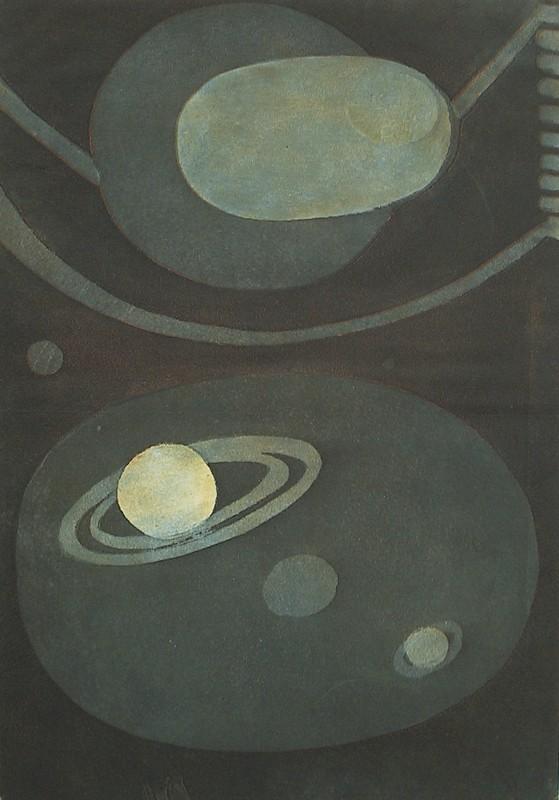 Abstrakteja planeettoja renkaineen. Mustaa, harmaata, kellertävän vaaleanharmaata.