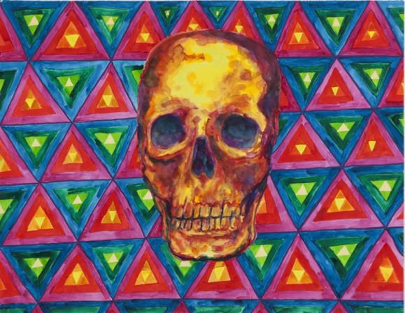 Kelltainen pääkallo, punaisia ja violetteja varjostuksia. Taustalla värikästä kolmioista koostuvaa kuviota.