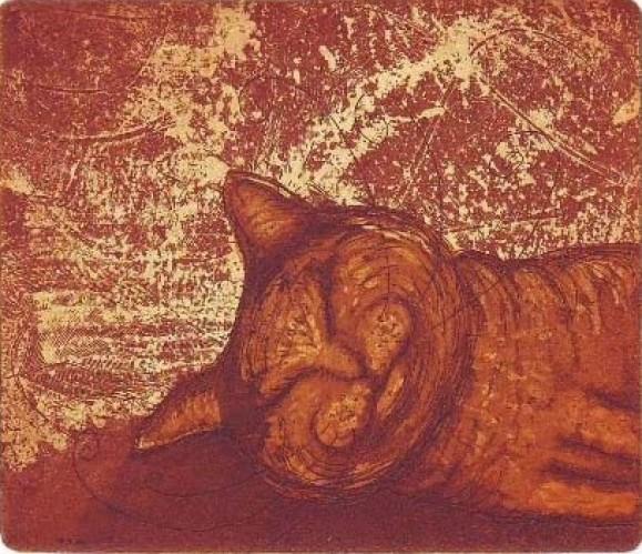 Nukkuva tyytyväisen näköinen kissa. Oranssia ja tummanpunaista, tekstuurillinen tausta.
