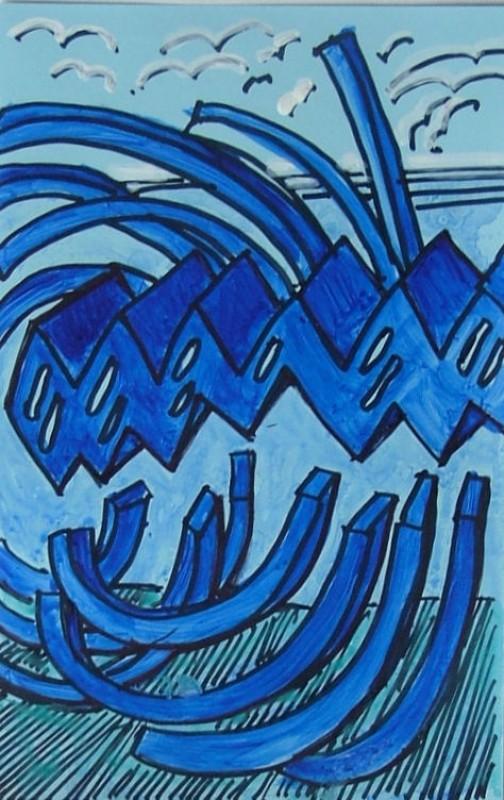 Kulmikasta sinistä muotoa. U:n muotoisia sinisiä palikoita.