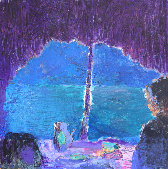 Epämääräinen maisema, kenties meri luolan suusta katsottuna. Violetin ja sinisen sävyjä ja rosoista maalausjälkeä.