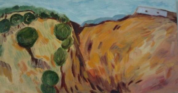 Vihreitä pyöreitä puita vuorenrinteellä, sininen taivas.