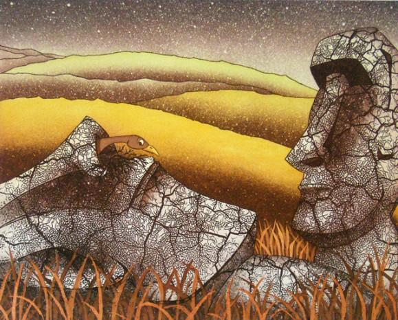 Kaksi Pääsiäissaarten patsasta ruskeassa heinikossa, toinen kaatunut, sieraimesta kurkistaa lintu. Taustalla keltaista niittyä ja tähtitaivas.