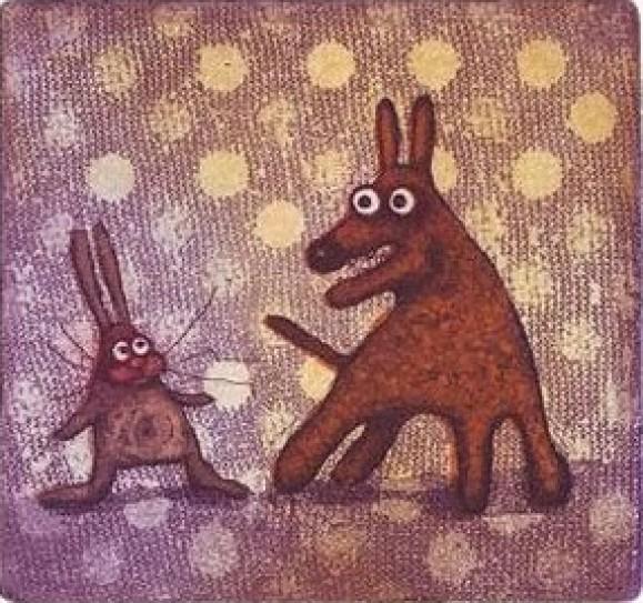 Mulkosilmäinen jänis ja koira. Pilkullinen violetti tausta, kangasmaista tekstuuria.