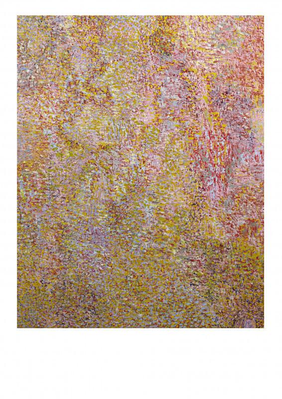Abstrakti kirjava maalaus. Tiheästi pieniä keltaisia ja punaisia pisteitä, vaaleansinistä taustalla.