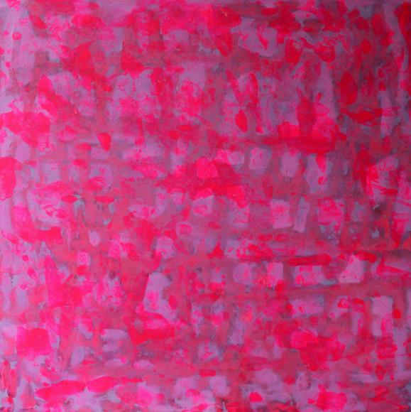Abstrakti maalaus, laikkuja, pinkkiä ja violetin sävyjä.