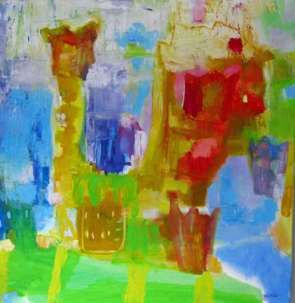Kirkas ja värikäs abstrakti maalaus.