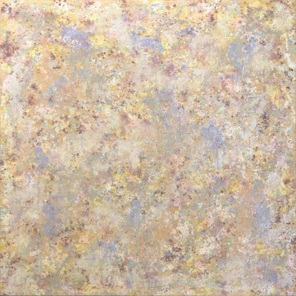 Abstrakti maalaus. Rosoista tekstuuria, heleitä keltaisen ja sinisen sävyjä.