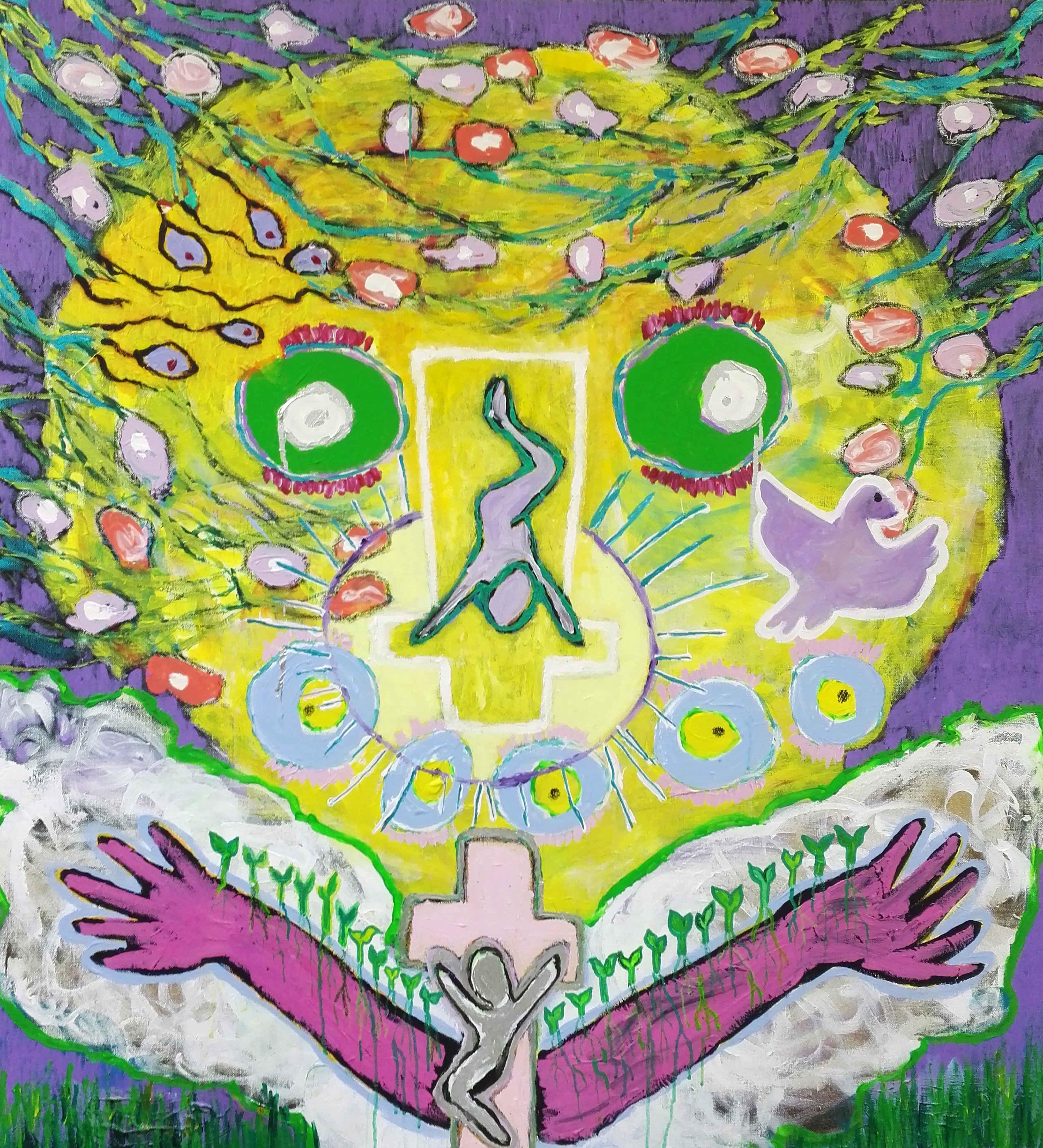 Suuret aurinkomaiset kasvot, joiden keskellä ristiinnaulittu hahmo ylösalaisin. Niiden alla ylöspäin avautuvat violetit käsivarret, joiden keskellä toinen ristiinnaulittu. Ympärillä erinäisiä kasveja. Kyyhkynen.