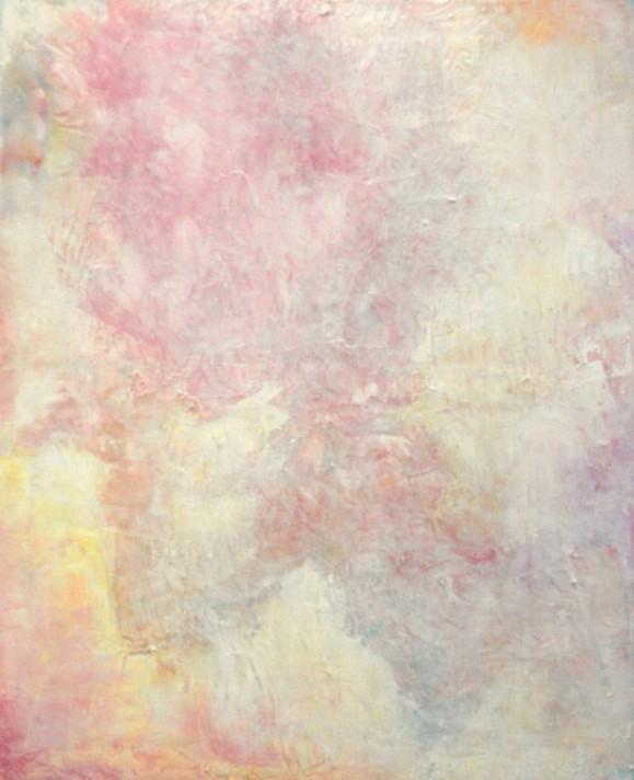Vaalea abstrakti maalaus. Häilyviä vaaleanpunaisen ja keltaisen sävyjä.