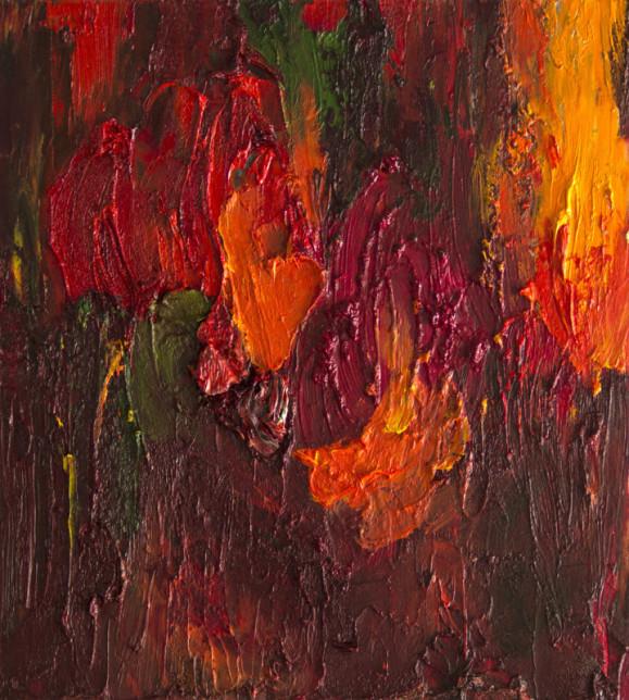 Abstrakti maalaus punaisen ja oranssin sävyissä. Paksua maalikerrosta.