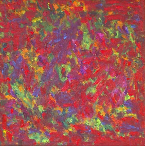 Abstrakti maalaus. Kirjava: hallitsevasti punaista, vihreää, keltaista, oranssia, sinistä.