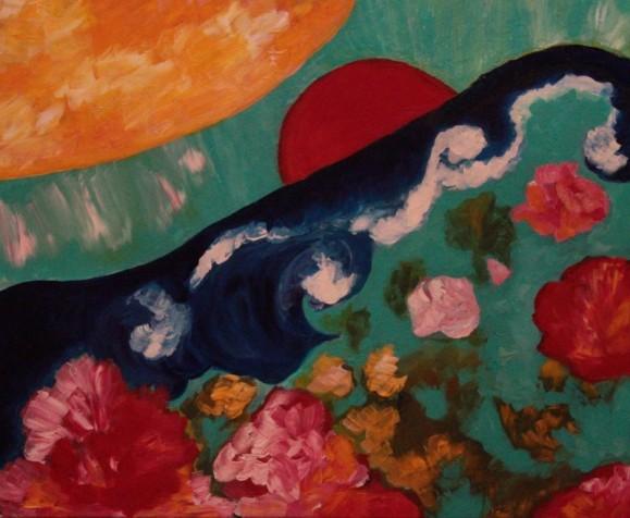 Abstrakti maalaus. Tummansininen lonkeromainen aalto, vaahtoa, takana punainen pallo. Yllä oranssi aurinko, alla punaisia kukkamaisia muotoja. Vihreä tausta.