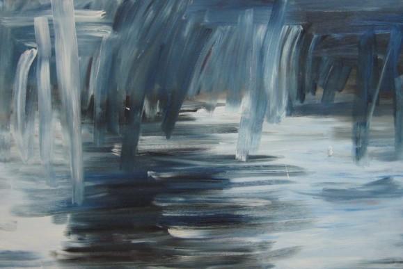 Abstrakti maalaus, sivellinjälkiä sinisen, valkoisen ja mustan sävyissä.