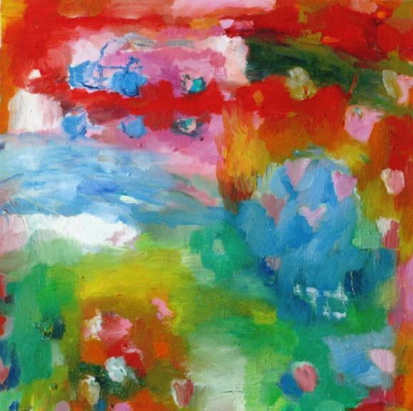 Värikäs abstrakti maalaus. Pilkkuja ja laikkuja.