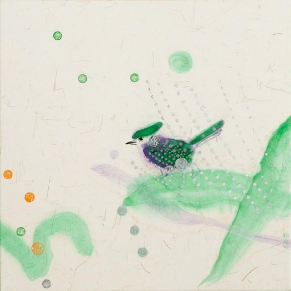 Hajanaisia haaleita maalausjälkiä, vihreää. Vihreitä ja oransseja pilkkuja. Vihreä lintu.