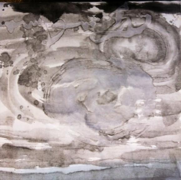 Abstrakti maalaus harmaan ja valkoisen sävyissä. Ylälaidassa hieman mustaa.