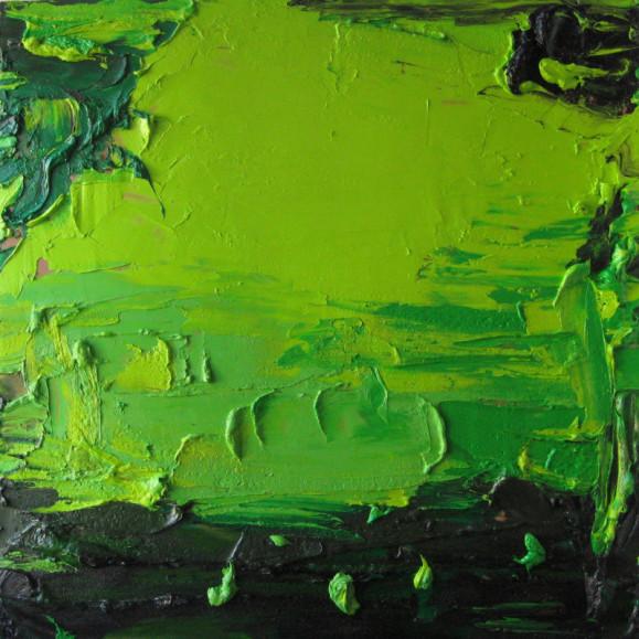 Abstrakti maalaus. Vihreän sävyjä ja mustaa. Paksuja maalikerroksia.