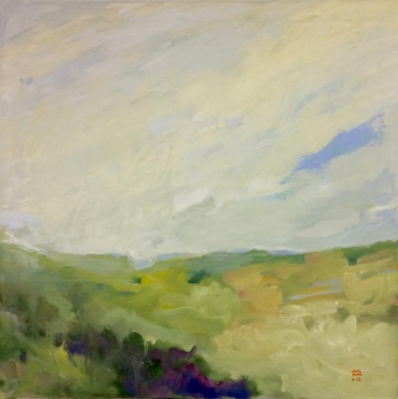 Impressionistinen maisema. Vihreän sävyjä, hieman keltaista ja violettia, beigeä. Valkoinen taivas jossa häivähdys sinistä.