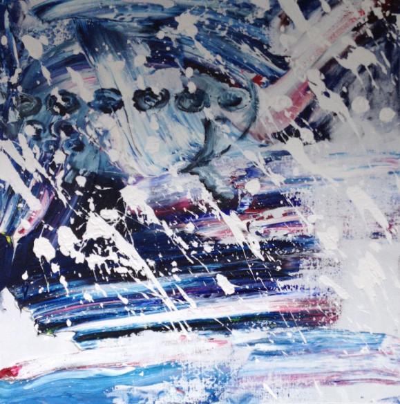 Ekspressionistinen myrskyinen maalaus. Tummansinisen maalausjäljen ja valkoisten roiskeiden lomassa sininen UFO.
