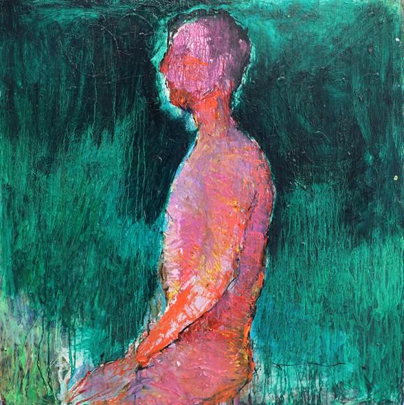 Ilmaisullinen maalaus. Alaston mieshahmo profiilissa, rosoisen maalauksellinen tausta vihreän sävyissä.