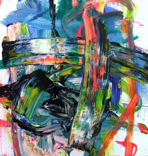 Värikäs, sinisen hallitsema abstrakti maalaus. Paksua ja ilmaisullista maalausjälkeä.
