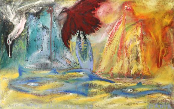 Ekspressionistinen maalaus. Valkoinen lokki syöksyy kohti keltaista merta, jossa sinisiä kaloja. Yksi kala hyökkää punaisen linnun kimppuun. Liekehtiviä vuoria. Tulinen lintu syöksyy merta kohti.