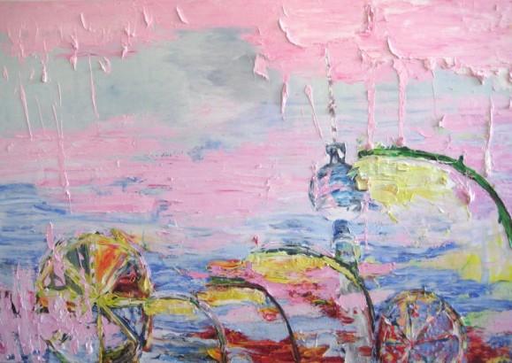 Abstrakti maalaus jossa epämääräisiä kirjavia esineitä. Vaaleanpunaista ja -sinistä taustalla.