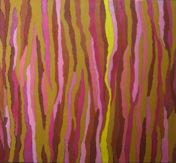 Abstrakti maalaus. Aaltoilevia pystyraitoja punaisen, keltaisen ja vaaleanpunaisen sävyissä.
