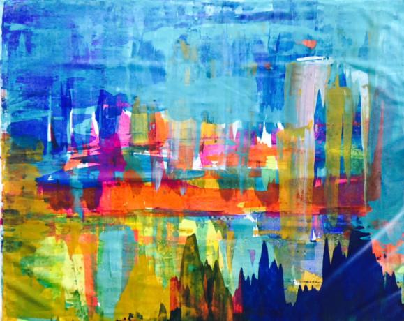 Kirjava abstrakti maalaus. Sininen ja keltainen hallitsevat.