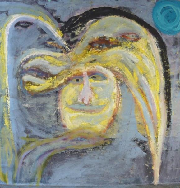 Ekspressionistinen maalaus. Hullunkuriset keltavalkoiset kasvot, joista ulkonee keltavalkoisia