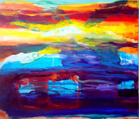 Värikäs abstrakti maalaus. Kirkkaita ja tummia sävyjä, keltainen ja sininen pääosassa.
