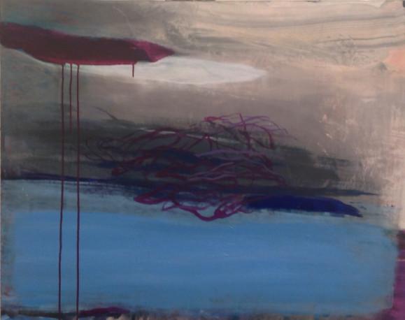 Abstakti maalaus. Tumman purppuraa, valumaa, sotkuista viivaa, sinistä, harmaata.