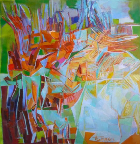 Värikäs abstrakti maalaus, epämääräisiä muotoja, kirkkaat sävyt.