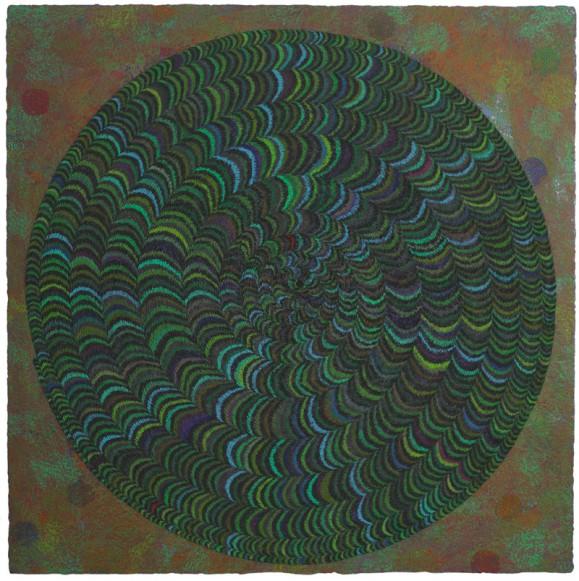 Pyöreä abstrakti muoto vihreän, sinisen, violetin ja turkoosin sävyissä. Maalauksellinen punavihreä tausta.