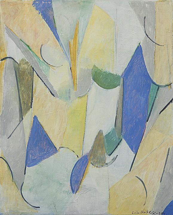 Vaalea, abstrakti maalaus. Viivoja ja muotoja, keltaista, sinistä, vihreää.