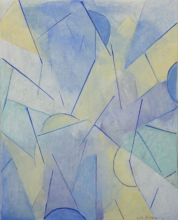 Vaalea, abstrakti maalaus. Viivoja ja muotoja, sinistä ja keltaista.