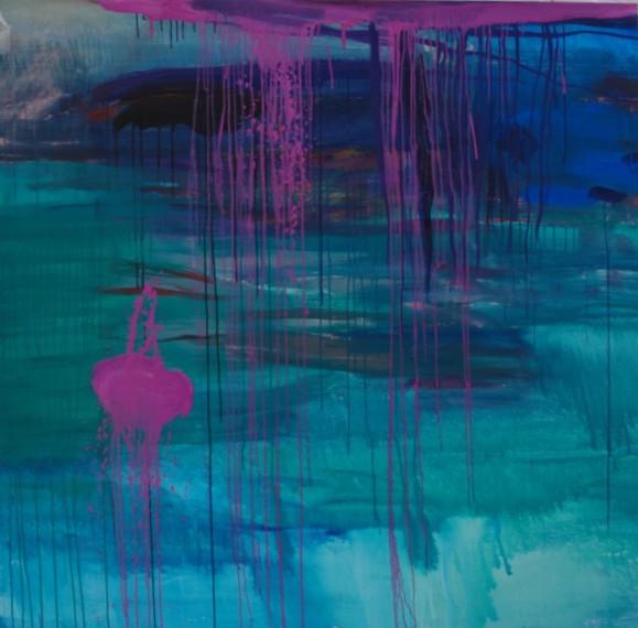 Abstrakti maalaus. Sinisen ja turkoosin sävyjä. Vaaleanpunaista. Valumaa.
