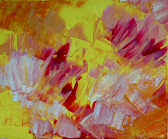 Abstrakti maalaus. Keltaista, oranssia, vaaleanpunaista, valkoista.