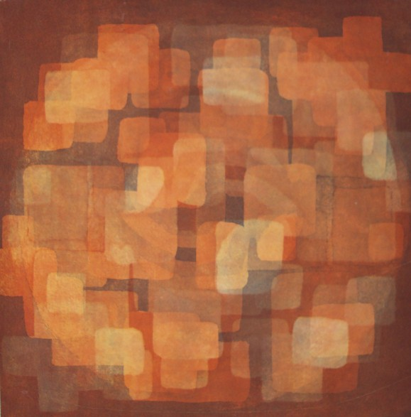 Neliömäisistä kuvioista koostuva abstrakti maalaus. Ruskean, oranssin sävyjä, tummaa ja vaaleaa.