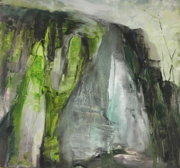 Abstrakti ekspressionistinen maalaus. Harmaan, valkoisen ja vaaleanvihreän sävyjä.