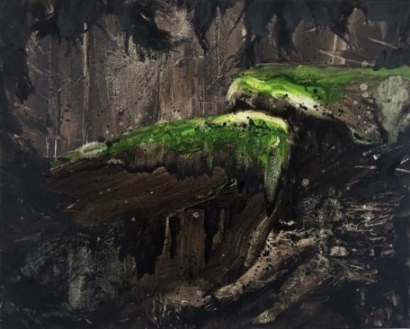 Ilmaisullinen abstrakti maalaus. Mustan, tummanruskean ja harmaan sävjä. Keskellä vihreää.