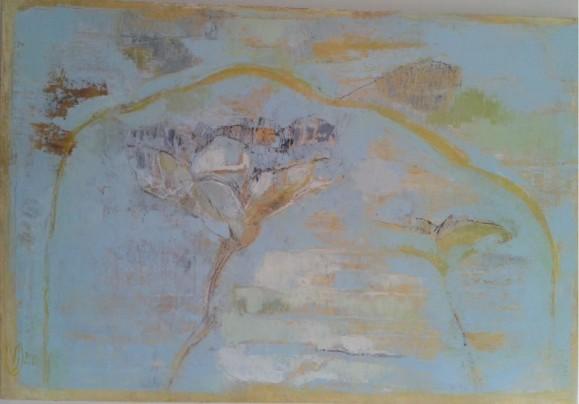 Abstrakti maalaus. Epämääräisiä kasveja, himmeitä sinisen, oranssin ja vihreän sävyjä.