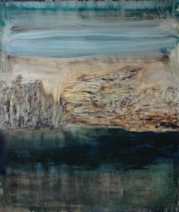 Abstrakti maalaus. Horisontaalisia värialueita: turkoosia, vaaleanruskeaa, tummanvihreää. Ilmaisullista maalausjälkeä.