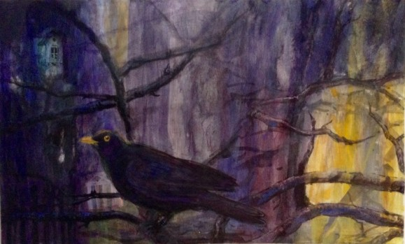 Musta lintu, ympärillä oksia. Tumman kirjava tausta, sinistä, violettia, keltaista.