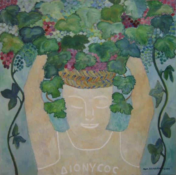Vaalea hahmo, silmät kiinni ja kädet pystyssä, päässään runsaita kasveja, kukkia ja köynnöksiä.