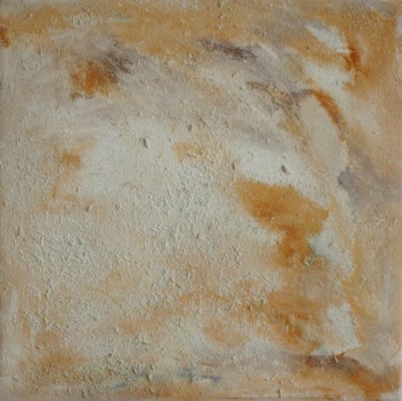 Tekstuurinen abstrakti maalaus, murrettua oranssia ja valkoista.