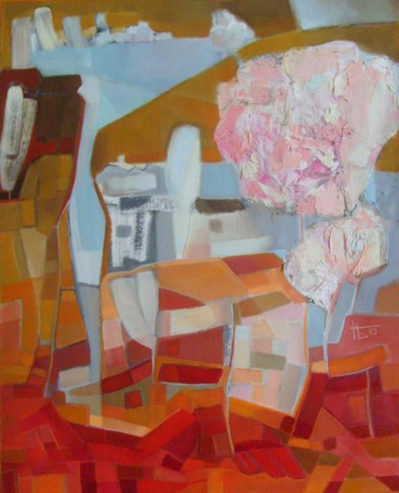 Abstrakti maalaus. Keltaisen ja punaisen sävyj kartiomaisissa muodoissa. Keskellä valkoista ja vaaleansinistä.
